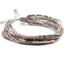 Grey Mix Multi Strand Bracelet on Silver Cord