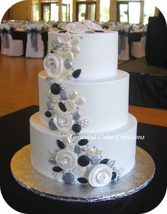 black and silver wedding cake | White Wedding Cake with Silver, Black and Pearl Jewels accented with ...