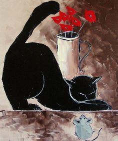 Black Cat With His Mouse by Atelier De Jiel the link to check out great cat products we have for your little feline friend! I Love Cats, Crazy Cats, Cute Cats, Art Atelier, Black Cat Art, Black Cats, Watercolor Cat, Cat Boarding, Cat Drawing