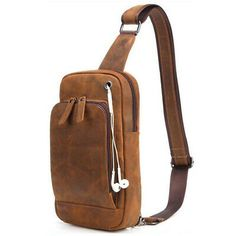 Genuine Leather Men Chest Bag Vintage Crazy Horse Leather Brand Small Messenger Bag Travel Single Shoulder Crossbody For Male Vintage Messenger Bag, Small Messenger Bag, Crazy Horse, Messenger Bag Herren, Leather Men, Leather Bags, Cowhide Leather, Real Leather, Leather Crossbody Bag