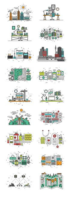 Thinline Illustrations Collection by Bloomicon on @creativemarket We are proud to present you the Thinline Illustrations - a collection of 50 design concepts created in latest top trend - thin line style. All of the images in collection are made in uniform and fluid design, based on pixel perfect grid and are ready to use for different purposes in your projects.