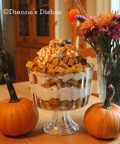 Pumpkin Trifle with Cinnamon Brown Sugar Maple Whipped Cream - this was delicious, even better the following day.