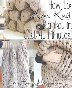 Arm Knit a Blanket in 45 Minutes // simplymaggie.com -- The fastest way to knit a chunky style blanket.