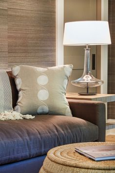 Fixtures can complete room, like the pillows and lamp. An elegant touch to a modern style room. Decor, Room, House, Spacious Kitchens, Home, Porch Fireplace, Contemporary Decor, Pillows, Spacious