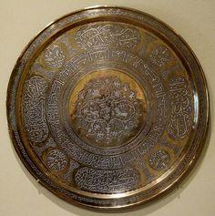 File:Brass tray inlaid with silver, Egypt or Syria, century, HAA I. Islamic Art Pattern, Pattern Art, Shield Design, Historical Art, Art Object, Metal Working, Art Decor, Egypt, Islamic Art