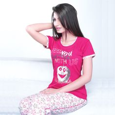 Juliet Pink Floral Cotton Night Suit (JLPJ10564) Night Suit, T Shirts For Women, Clothes For Women, Hosiery, Lingerie, Shirt Dress, Suits, Floral, Cotton