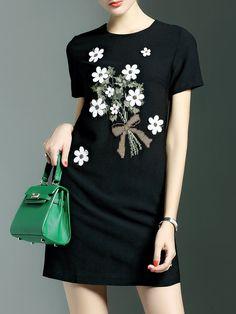 Black Crew Neck Sweet Appliqued Mini Dress