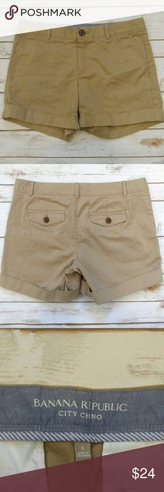 Banana Republic City Chino Shorts Banana Republic City Chino Shorts  Size 6 in great used condition. Please let me know if you have any questions. I ship the same day as long as the post office is still open. Have a great day, thanks for checking out my closet and happy poshing! Banana Republic Shorts