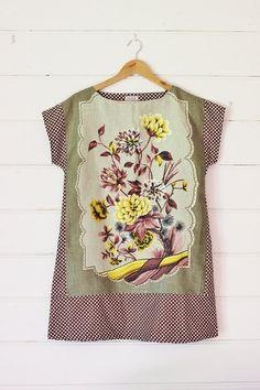 ed008293c8 Upcycled Linen Tea Towel Tunic Women Dress Spotty Dots Choc Brown Khaki  Retro Floral Mod Mini