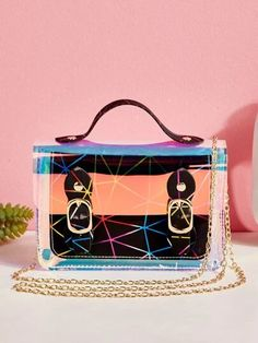 Clear Glitter Chain Satchel Bag | SHEIN USA Geometric Graphic, Lunch Box, Holographic, Fashion Bags, Pu Leather, Chain, Satchel Bag, Pattern, Composition