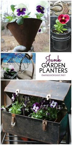 Junk shop treasures that have seen better days make the best garden flower…