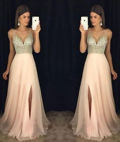 Prom Dresses 2018 New Arrival Prom Dress,Modest Prom Dress,sparkly crystal beaded v neck open back long chiffon prom dresses 2017 pageant evening gowns with leg slit Prom Dresses Long Open Back, Prom Dresses Long Pink, V Neck Prom Dresses, Prom Dresses 2017, Modest Dresses, Bridesmaid Dresses, Prom Gowns, Dress Prom, Light Pink Dresses
