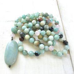 Amazonite Pendant Mala Beads, 108 Mala Bead Necklace, Mixed Amazonite Mala Necklace, Yoga Meditation Beads, Long Gemstone Mala