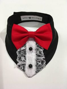 Elegant black and Red Dog Bandana By Little Paws Boutique