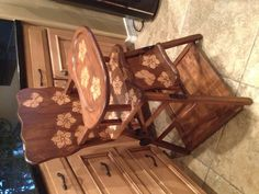 Stenciled Vintage Baby High Chair 1 for sale JustBeKoz