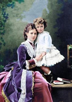 Empress Maria Feodorovna of Russia with her son Nicholas, last Emperor of Russia, ca.