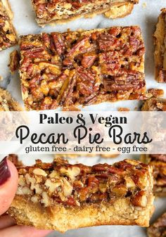 These Healthy Pecan Pie Bars are paleo, vegan, gluten free, and taste exactly like real pecan pie! They are simple to make and have a delicious pecan filling on top! day i dream about food sugar free pecan pie-keto recipe Healthy Pecan Pie Bars Gluten Free Sweets, Paleo Sweets, Vegan Dessert Recipes, Dairy Free Recipes, Paleo Recipes, Gluten Free Pie, Paleo Desert Recipes, Gluten Free Pecan Pie Bars Recipe, Healthy Pecan Pie Recipe