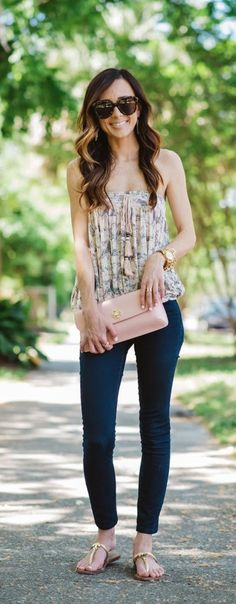 Elegant Spring Ensemble-Print Tube Top and '811′ Skinny Stretch Jeans