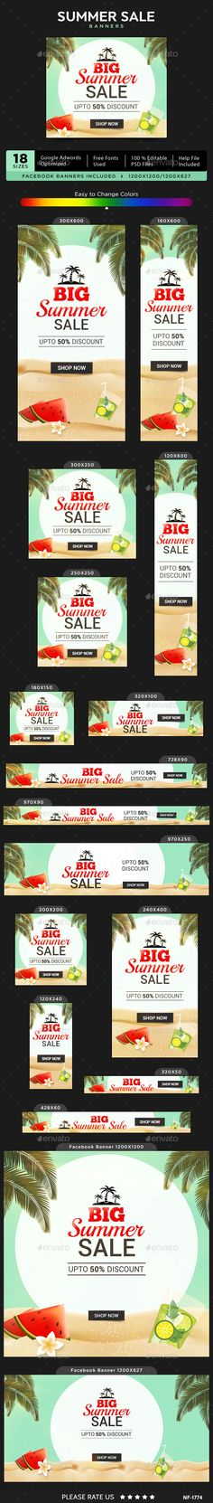 Big Summer Sale Banners — Photoshop PSD #social media #coupon • Available here → https://graphicriver.net/item/big-summer-sale-banners/19909490?ref=pxcr