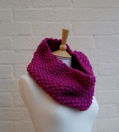 Chunky Knit Snood in Strawberry Pink Extra by StripesnCables