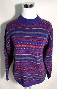 Womens Size L Vintage Eddie Bauer Fair Isle Nordic Print Sweater, Nice Colors