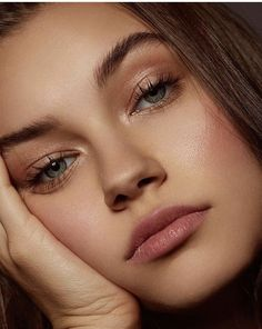 soft rosy cheeks and lips, soft shimmery rose gold eyes, natural fluffy brows
