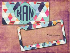 Pastel Colours, Geometrical Pattern, Triangles, Cute Car Tag, Bike Tag, Bike License Plate, License Plate Frame - monogrammed license plate by SaidTheOwl on Etsy