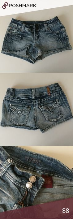Zandi Short Shorts with Sparkly Diamond Studs 🌟✨ Cutesy Zandi short shorts with sparkly diamond studs! Diamond details along the belt handles and back pockets. Features four pockets. Runs SMALL. For a very petite lady or youth teen. Zandi Shorts Jean Shorts