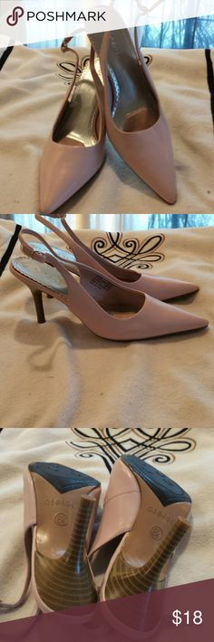 Pink heels Thes  are a cute pair of slingback Heels by George they have a three and a half inch heel never worn only tried on excellent condition  a pale pink George  Shoes Heels