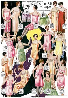 A lovely array of diverse lingerie styles from the 1920s, all done up in rainbow sherbet inspired hues.