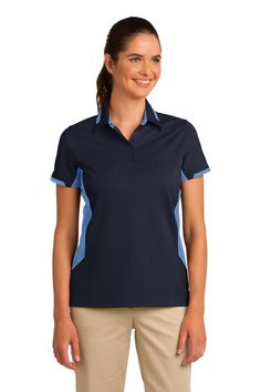Port Authority Ladies Dry Zone Colorblock Ottoman Polo. L524 Navy/ Blue Lake