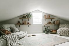 Home Renovation Flooring Reema Floor Cushion Small Attic Room, Attic Loft, Loft Room, Attic Spaces, Attic Rooms, Bedroom Loft, Attic Bedroom Ideas Angled Ceilings, Attic Playroom, Slanted Ceiling Bedroom