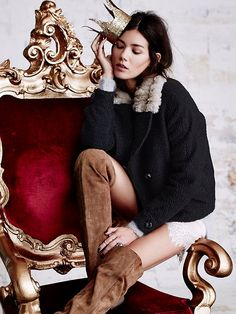 Free People Topped in Fur Peacoat at Free People Clothing Boutique