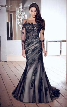 Appliques Jewel Floor-length Mermaid Dress
