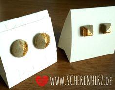 Ohrringe - Beton und Blattgold