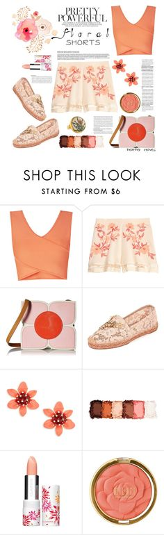 """Floral Shorts"" by heather-reaves ❤ liked on Polyvore featuring BCBGMAXAZRIA, Orla Kiely, Dolce&Gabbana, Kate Spade, NYX, Clarins, Milani and Gurhan"