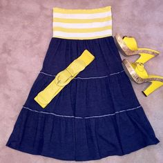 """Nautical Striped Strapless Sundress New with tags. Yellow and white stretch smocked bust with a navy blue denim look stretch bottom. Super comfy. Tagged a medium, would also fit a small. 29"""" top to hem. Rewind Dresses Strapless"""
