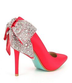 Apr 2020 - Blue by Betsey Johnson Rhinestone Bow Detail Bryn Pumps Red Wedding Shoes, Blue By Betsey Johnson, Bridal Heels, Rhinestone Bow, Prom Heels, Gucci Purses, Unique Shoes, Stiletto Pumps, Dress Sandals