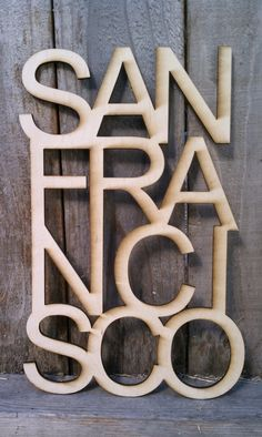 san francisco wood laser cut by BiscuitsEngravy on Etsy, $40.00