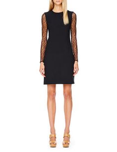 MICHAEL KORS Lace-Sleeve Crepe Dress