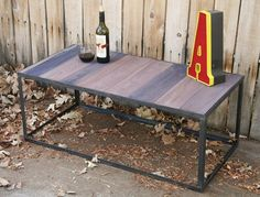 Handmade scrap metal modern industrial reclaimed wood coffee table, console table, occasional table