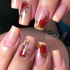 Rose Gold Nails, Blue Nails, Nail Salon Design, Fall Nail Art Designs, Sexy Nails, Best Acrylic Nails, Toe Nail Art, Flower Nails, Stylish Nails