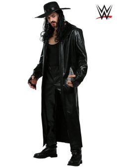 WWE Undertaker Men's Costume Wwe Costumes, Wrestling Costumes, Cool Costumes, Halloween Costumes, Costume Ideas, Wwe Undertaker, Undertaker Costume, Trench Coat Style, Leather Trench Coat