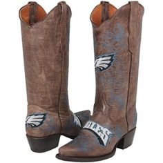 Philadelphia Eagles Womens Embroidered Cowboy Boots - Brown