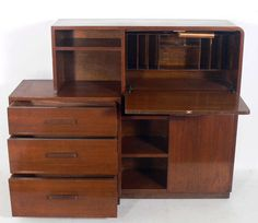 Art Deco Asymmetrical Bookcase, Credenza, Drop Front Desk by Modernage | From a unique collection of antique and modern cabinets at https://www.1stdibs.com/furniture/storage-case-pieces/cabinets/