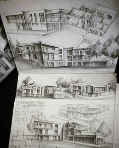 Architecture - daily sketches ( * fotos y vídeos Architecture Sketchbook, Architecture Graphics, Architecture Student, Architecture Portfolio, Interior Architecture, Art Du Croquis, Conceptual Drawing, Architect Drawing, Building Sketch