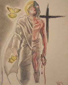 The Sacrifice Of Jesus Christian Warrior, Christian Art, Catholic Art, Religious Art, Jesus Painting, Prophetic Art, Jesus Art, Biblical Art, Jesus Pictures