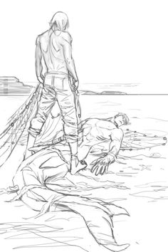 Pencilled this during Livestream! Fisherman Rin discovers an injured Mer'suke. …Shark butts are hard to draw.