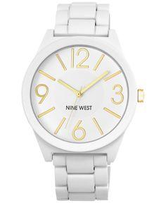 Nine West Women's Matte White Rubberized Adjustable Bracelet Watch 42mm NW-1678WTWT - Women's Watches - Jewelry & Watches - Macy's