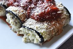 Eggplant Involtini with Pesto Filling Low-Carb Side Dish Recipe from CarbSmart Low-Carb & Gluten-Free Holiday & Entertaining Cookbook